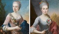 portrait de dame en flore portrait de dame en cérès (pair) by louis tocqué