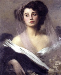 portrait of a lady in evening dress by robert sauber