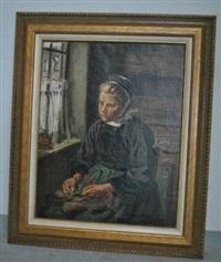 jeune bretonne près de sa fenêtre (le faouet?) by germain david-nillet