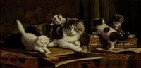 cat with four kittens on a table with books by cornelis raaphorst