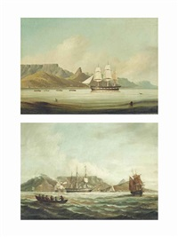 the american brig corsica under tow in a flat calm entering table bay; the american brig corsica lying in table bay (2 works) by john thomas baines