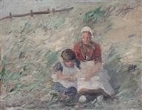 duinlandschap met twee kinderen by gerhard arij ludwig morgenstjerne munthe