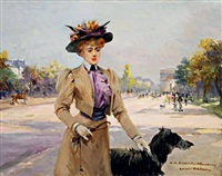 madame la vicomtesse de beaurieux et son chien, avenue foch by louise abbéma