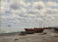 beach scene with rowing boats and a sleeping fisherman by wilhelm ferdinand xylander