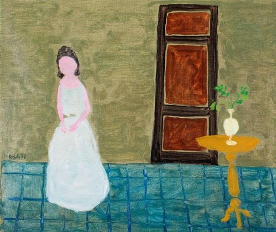 meisje in witte jurk naast een tafeltje by jan roëde