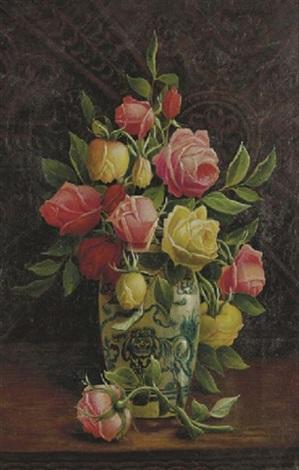 roses in a porcelain vase by henry j livens