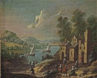 a river landscape with a village scene in the foreground by marc baets