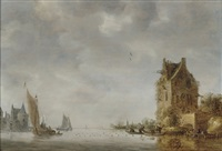 a river landscape with fishermen attending their nets by frans de hulst