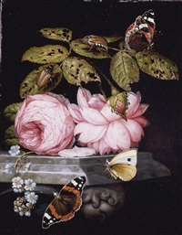 a still life with sprigs of guelder-rose and forget-me-not resting on a sculpted marble ledge, and red admiral butterflies and a cabbage white, and large bugs by ottmar elliger the elder