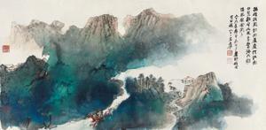 泼彩山水 landscape by zhang daqian