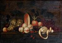 nature morte aux melons, pêches, raisins et citrons sur un entablement by michiel simons