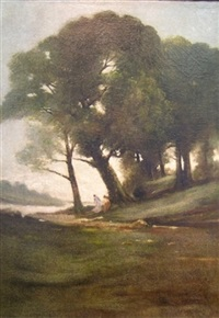 wooded landscape with figures by a stream by william sartain