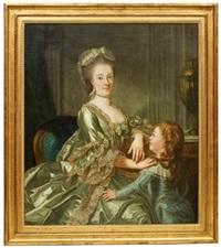 porträtt föreställande johanna cornelia von breda, gift med lucas von breda den yngre, samt deras son, blivande konstnär carl fredric von breda by carl fredrik van breda