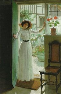 At the cottage door
