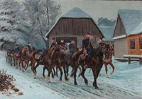 danish soldiers on horseback, winter time by karl frederik christian hansen-reistrup