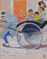 mother and two children in rickshaw by gertudre alice kay