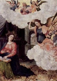 maria verkündigung mit gottvater und adorierenden engeln by lucas de heere