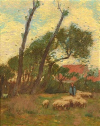 sheep in the pasture by louis paul dessar