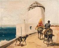 donkey riding in myconos by vasilis germenis