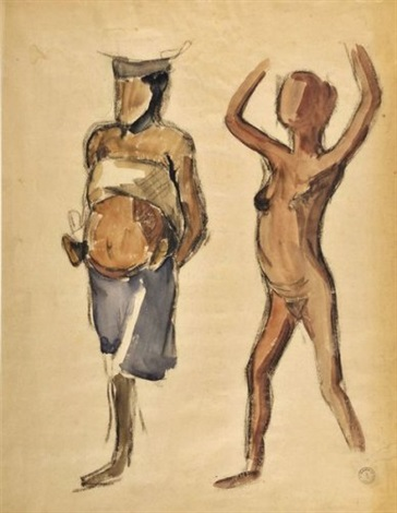 jeunne fille et de femme et son enfant, porteuses (study) by maurice le scouezec