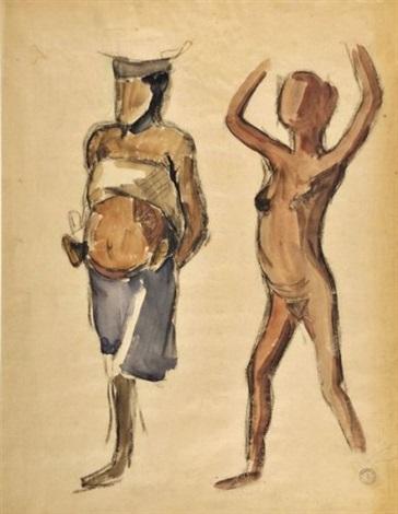jeunne fille et de femme et son enfant porteuses study by maurice le scouezec