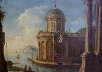 palais classique et ruines antiques au bord d'un rivage méditerranéen by francesco battaglioli