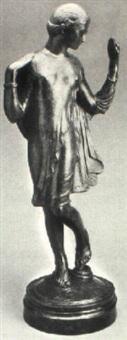 girl in a short greek chiton holding a mirror by margaret (margo) newton allen