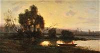 pêcheur au crépuscule by charles félix edouard deshayes