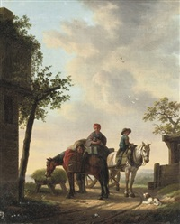 travellers and their horses halting near a well by cornelis van cuylenburg