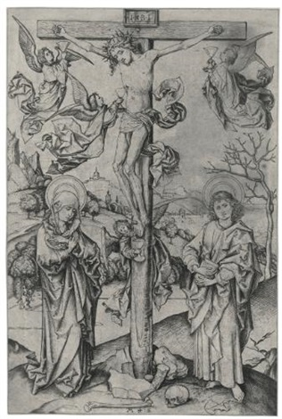 the cruxifixion with four angels by martin schongauer