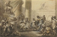 a scene from the antique: a priest presenting a sword to a youth beneath a statue of hercules by antonio zucchi
