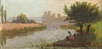boys fishing on a summer day by james taylor harwood