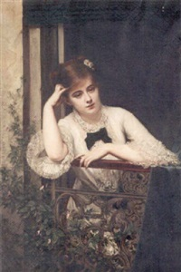 jeune fille pensive sur un balcon by jules emile saintin