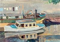 binnenvaartschip met matroos en geliefde by johan hendrik kaemmerer