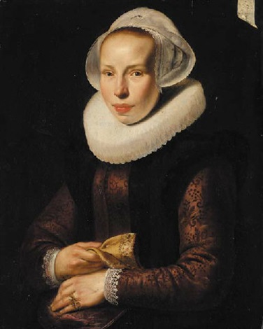 portrait of a lady in an embroidered burgundy bodice with a white ruff and white cap a glove in her right hand by werner van den valckert