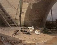 canard sous l'arche du pont by théophile victor emile lemmens
