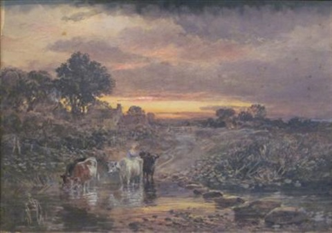 cattle watering at sunset by samuel bough