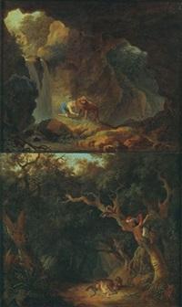chasseur découvrant une tigresse (+ chasseur retirant une épine de la patte d'un lion; pair) by olivier lemay