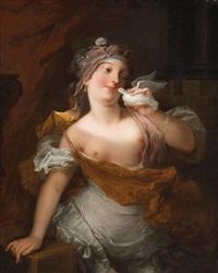 venuspriesterin mit taube (prêtresse de vénus tenant un pigeon) by jacques-françois courtin