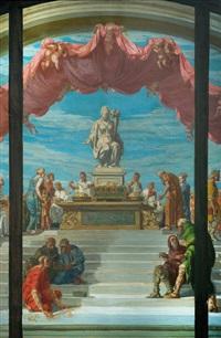 boceto del proyecto para la decoración de las grandes vidrieras que se abren en el gran espacio central del banco de la república by g. buffa