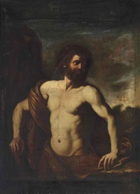 hercules in a wooded landscape by guercino