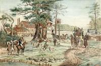 landskab med engelsk kro, jagtselskab og diligence der får skiftet heste by f. f. hoppensach