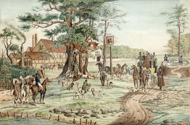 landskab med engelsk kro jagtselskab og diligence der får skiftet heste by f f hoppensach