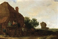 a horse and wagon with peasants in front of a house by maerten fransz van der hulst