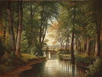 forest scene with a man fishing in a wood stream by siegfried hass