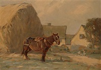 a shire horse by a haystack by augustus william enness