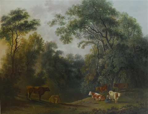 a wooded landscape with a milk maid and cattle by george barret