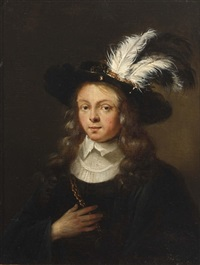 a portrait of a young man wearing a black coat with white collar and a feathered hat by ary de vois