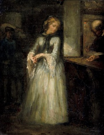 jeune femme au guichet by nicolas françois octave tassaert