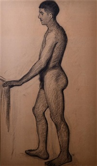 man seen from the side in the stockholm bath house (study) by eugene fredrik jansson